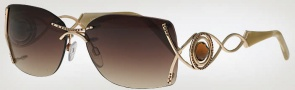 Caviar 6846 Sunglasses Sunglasses - (21) Gold w/ Clear Crystal Stones w/ Brown Lens