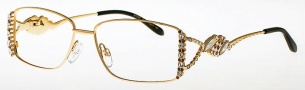 Caviar 5565 Eyeglasses Eyeglasses - (21) Gold w/ Clear/ Brown Crystal Stones