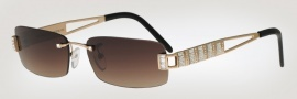 Caviar 6847 Sunglasses Sunglasses - 21 Gold W/ Clear Crystal Stones / Brown Lens