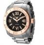 Swiss Legend Commander 3H Bracelet Watch 10059 Watches - 11-RB Black Face / Rose Dial / Silver Bracelet