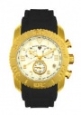 Swiss Legend Commander Rubber IP Watch 20065 Watches - J White Fae / Gold Dial / Black Band