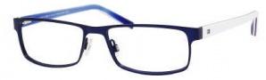 Tommy Hilfiger 1127 Eyeglasses Eyeglasses - 04XR Matte Blue / Blue Red White