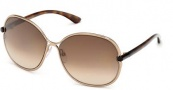Tom Ford FT0222 Leila Sunglasses Sunglasses - 34F Shiny Light Bronze / Gradient Brown