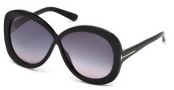 Tom Ford FT0226 Margot Sunglasses Sunglasses - 01B Shiny Black / Gradient Smoke