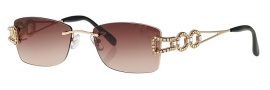 Caviar 1661SG Sunglasses Sunglasses - 21 Gold With Clear Crystal Stones With Brown Lens