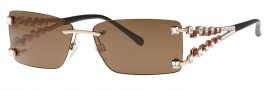 Caviar 5582 Sunglasses Sunglasses - 16 Gold w/ Clear Topaz Crystal Stones (Brown Lens)