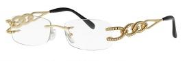 Caviar 1659 Eyeglasses Eyeglasses - 21 Gold w/ Clear Crystal Stones