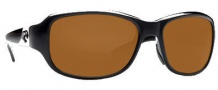 Costa Del Mar Las Olas Sunglasses- Black Frame Sunglasses - Amber / 580P
