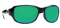 Costa Del Mar Las Olas Sunglasses- Black Frame Sunglasses - Green Mirror / 580G
