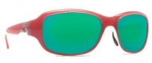 Costa Del Mar Las Olas Sunglasses - Coral White Frame Sunglasses - Green Mirror / 400G