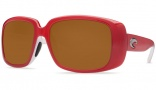 Costa Del Mar Little Harbor Sunglasses Coral White Frame Sunglasses - Dark Amber / 400G
