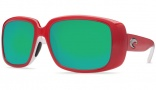 Costa Del Mar Little Harbor Sunglasses Coral White Frame Sunglasses - Green Mirror / 400G