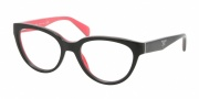 Prada PR 10PV Eyeglasses Eyeglasses - KA3101 Top Black / Gray / Coral Demo Lens