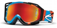 Smith Optics Fuel V.2 Sweat-X M Moto Goggles Goggles - Cyan - Orange Offset / Red Mirror