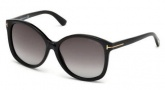 Tom Ford FT0275 Alicia Sunglasses Sunglasses - 01F Shiny Black / Gradient Brown