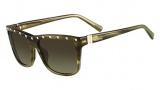 Valentino V606S Sunglasses Sunglasses - 305 Striped Khaki