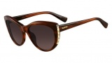 Valentino V648S Sunglasses Sunglasses - 236 Striped Brown