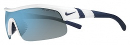 Nike Show X1 EV0674 Sunglasses Sunglasses - 120 White / Matte Obsidian / Grey with Blue Lens