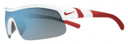 Nike Show X1 EV0674 Sunglasses Sunglasses - 140 White / Varsity Red / Grey with Blue Flash Lens