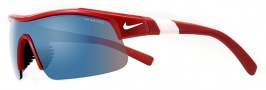 Nike Show X1 EV0674 Sunglasses Sunglasses - 610 Varsity Red / White / Grey with Blue Flash Lens