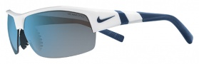 Nike Show X2 EV0675 Sunglasses Sunglasses - 120 White / Matte Obsidian / Grey with Blue Flash Lens