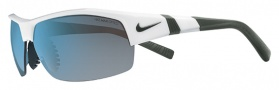 Nike Show X2 EV0675 Sunglasses Sunglasses - 150 White / Forest Green / Grey with Blue Flash Lens