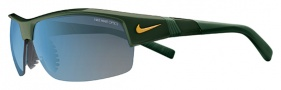 Nike Show X2 EV0675 Sunglasses Sunglasses - 300 Forest Green / Yellow / Grey with Blue Flash Lens