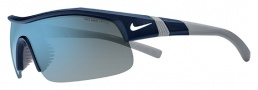 Nike Show X1 EV0617 Sunglasses Sunglasses - 404 Matte Obsidian / Platinum / Grey with Blue Flash Lens