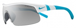 Nike Show X1 EV0617 Sunglasses Sunglasses - 147 White / Neon Turquoise /  Grey with Clear Flash LensLens