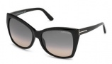 Tom Ford FT0295 Carli Sunglasses Sunglasses - 01B Shiny Black / Gradient Smoke Lens