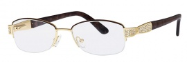 Caviar 2336 Eyeglasses Eyeglasses - 16 Gold / Brown Clear Crystal Stones