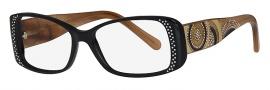 Caviar 3004 Eyeglasses Eyeglasses - 24 Black / Light Brown Clear Crystal Stones