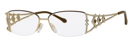 Caviar 5587 Eyeglasses Eyeglasses - 16 Brown / Gold Clear Crystal Stones
