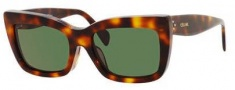 Celine CL 41048/F/S Sunglasses Sunglasses - 005L Havana / Green Lens