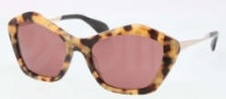 Miu Miu MU 02OS Sunglasses Sunglasses - PC80A0 Golden Yellow Havana / Dark Violet Lens