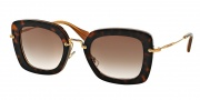 Miu Miu MU 07OS Sunglasses Sunglasses - KAZ0A6 Top Havana on Opal / Brown Gradient Lens