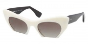 Miu Miu MU 10OS Sunglasses Sunglasses - 7S34M1 Ivory / Black / Green Gradient Lens