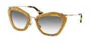 Miu Miu MU 10NS Sunglasses Sunglasses - TKD0A7 Dark Yellow/Silver / Grey Gradient
