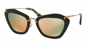 Miu Miu MU 10NS Sunglasses Sunglasses - 1BO2D2 Black Sand / Grey Mirror Rose Gold