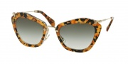 Miu Miu MU 10NS Sunglasses Sunglasses - DHF0A7 Marble Yellow Havana/Transp / Grey Gradient