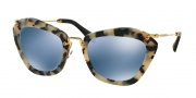 Miu Miu MU 10NS Sunglasses Sunglasses - HAO4N0 Sand Havana/Sand dk Brown / Light Blue Mirror Silver