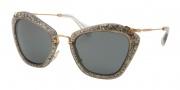 Miu Miu MU 10NS Sunglasses Sunglasses - IAH1A1 Smoke/Glitter Silver / Gray