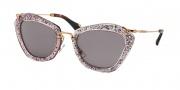 Miu Miu MU 10NS Sunglasses Sunglasses - TKB6X1 Pink/Silver / Dark Violet