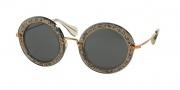 Miu Miu MU 13NS Sunglasses Sunglasses - IAH1A1 Smoke Glitter Silver / Gray Lens