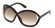 Tom Ford FT0297 Sandra Sunglasses Sunglasses - 52F Dark Havana / Gradient Brown