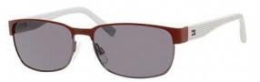 Tommy Hilfiger T_hilfiger 1162/S Sunglasses Sunglasses - 0V4M Dark Ruthenium / Matte Red / Gray Lens