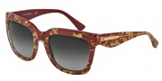 Dolce & Gabbana DG4197 Sunglasses Sunglasses - 27488G Leaf Gold on Red / Gray Gradient Lens