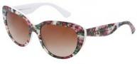 Dolce & Gabbana DG4189 Sunglasses Sunglasses - 278013 Top White Flowers on White / Brown Gradient Lens