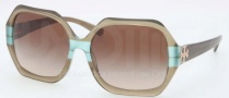 Tory Burch TY7051 Sunglasses Sunglasses - 112613 Olive Teal Striped / Smoke Gradient