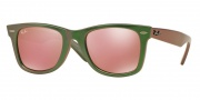 Ray Ban RB2140F Sunglasses Sunglasses - 6109Z2 Metallic Green / Light Brown Mirror Pink